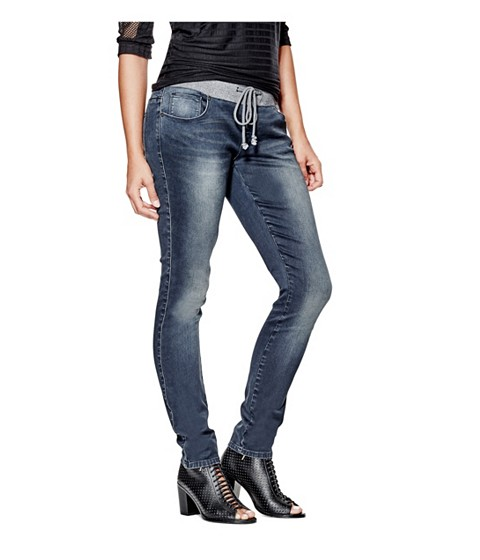 Imbracaminte Femei GUESS Meilani Ribbed-Waistband Skinny Jeans dark wash