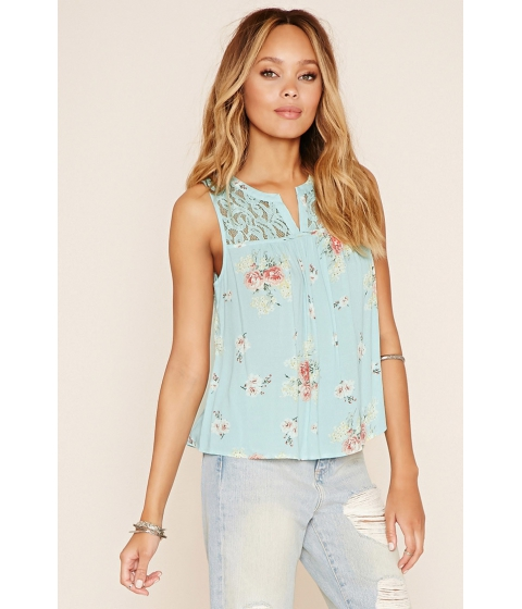 Imbracaminte Femei Forever21 Lace-Yoke Floral Print Top Mintgreen