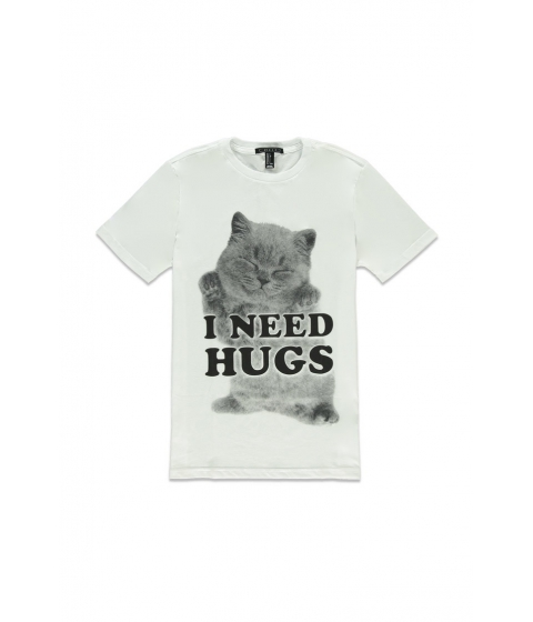 Imbracaminte Barbati Forever21 Need Hugs Kitten Graphic Tee Whitegrey