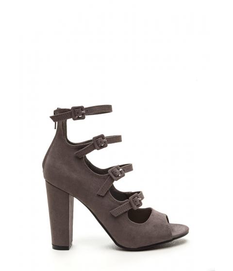 Incaltaminte Femei CheapChic Four Square Strappy Chunky Heels Grey
