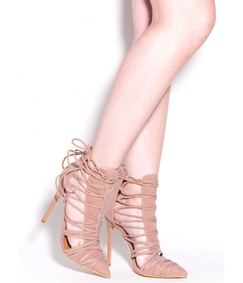 Incaltaminte Femei CheapChic Wrap It Good Pointy Lace-up Heels Taupe