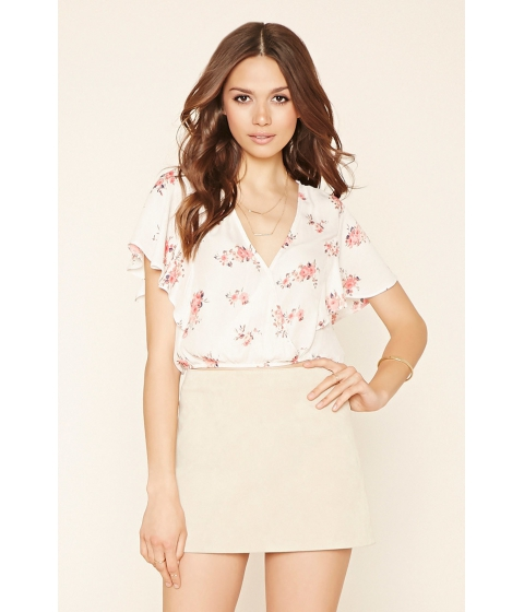 Imbracaminte Femei Forever21 Contemporary Floral Crop Top Vanillapink