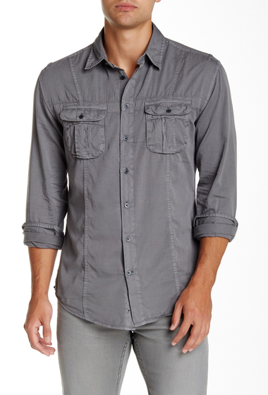 Imbracaminte Barbati Star USA By John Varvatos Utility Style Long Sleeve Shirt GRAPHITE