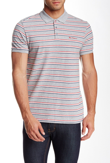 Imbracaminte Barbati Ben Sherman Striped Pique Polo STONE GREY MARL