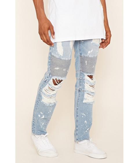 Imbracaminte Barbati Forever21 Reason Destroyed Moto Jeans Light blue