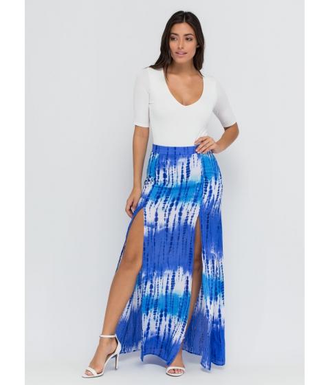 Imbracaminte Femei CheapChic Tie-dye Ta-da Double Slit Maxi Skirt Blue