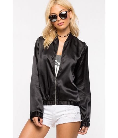 Imbracaminte Femei CheapChic Satin Bomber Jacket Black