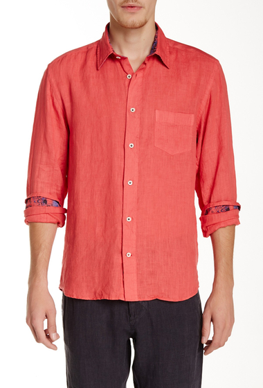 Imbracaminte Barbati Benson New York Solid Linen Relaxed Fit Long Sleeve Shirt Coral