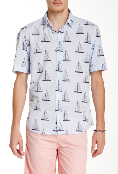 Imbracaminte Barbati Benson New York Sailboat Print Relaxed Fit Short Sleeve Shirt Light Blue