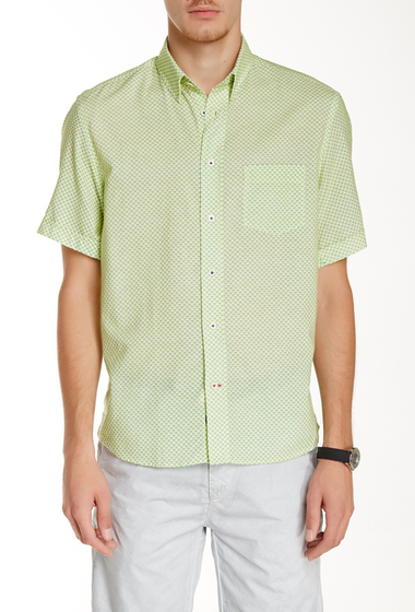 Imbracaminte Barbati Benson New York Printed Linen Relaxed Fit Short Sleeve Shirt Green