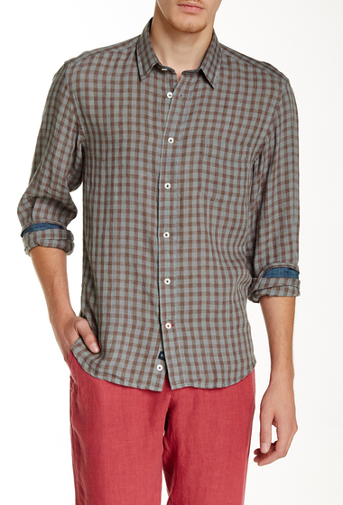 Imbracaminte Barbati Benson New York Plaid Linen Relaxed Fit Long Sleeve Shirt Red