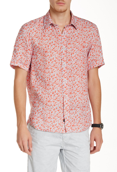 Imbracaminte Barbati Benson New York Floral Linen Relaxed Fit Short Sleeve Shirt Orange