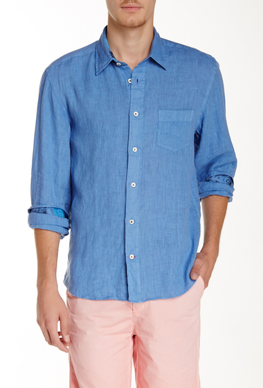 Imbracaminte Barbati Benson New York Solid Linen Relaxed Fit Long Sleeve Shirt True Blue