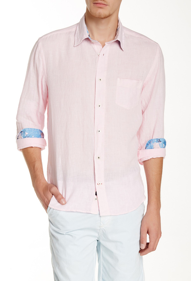 Imbracaminte Barbati Benson New York Solid Linen Relaxed Fit Long Sleeve Shirt Pink