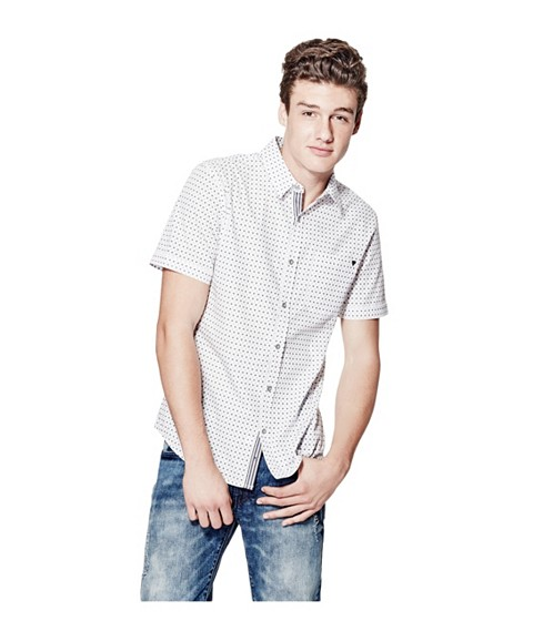 Imbracaminte Barbati GUESS Ewald Printed Poplin Shirt true white