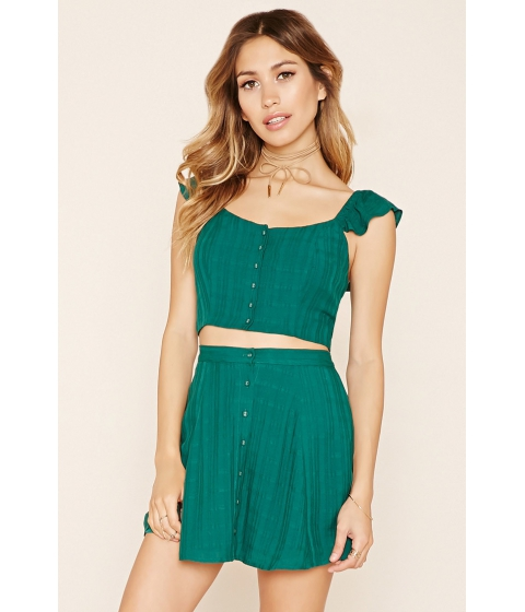Imbracaminte Femei Forever21 Button Front Crop Top Emerald