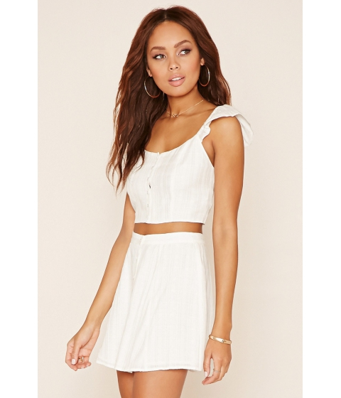 Imbracaminte Femei Forever21 Button Front Crop Top Ivory