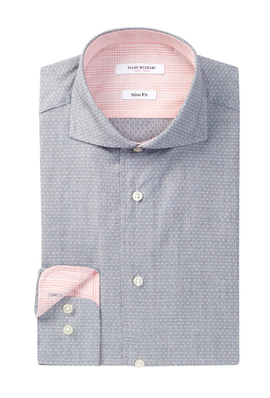 Imbracaminte Barbati Isaac Mizrahi New York Long Sleeve Slim Fit Dobby Dress Shirt Grey