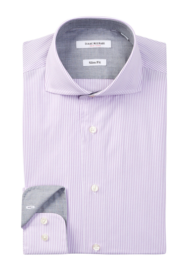 Imbracaminte Barbati Isaac Mizrahi New York Long Sleeve Slim Fit Micro Stripe Dress Shirt Lilac