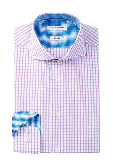 Imbracaminte Barbati Isaac Mizrahi New York Long Sleeve Slim Fit Check Dress Shirt Purple