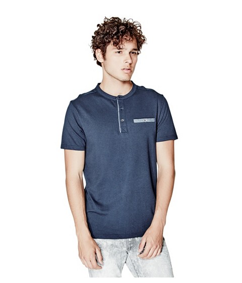 Imbracaminte Barbati GUESS Kryton Henley officer blue