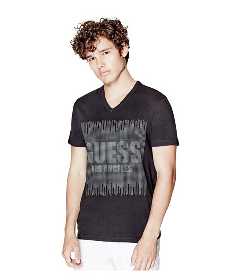 Imbracaminte Barbati GUESS Bron V-Neck Logo Tee jet black