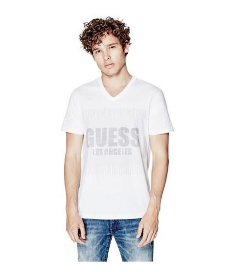 Imbracaminte Barbati GUESS Bron V-Neck Logo Tee true white