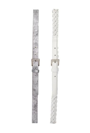 Accesorii Femei Steve Madden Assorted Belt - Set of 2 WHT-SIL
