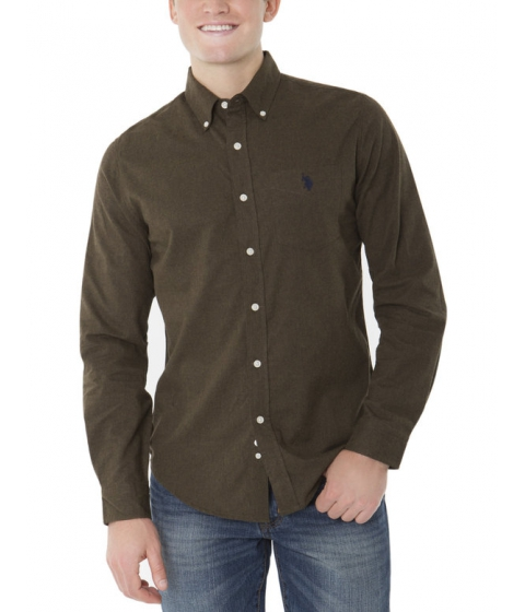Imbracaminte Barbati US Polo Assn SLIM FIT LONG SLEEVE COTTON TWILL SHIRT DARK OLIVE HEATHER