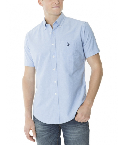 Imbracaminte Barbati US Polo Assn SHORT SLEEVE SOLID OXFORD Light Blue