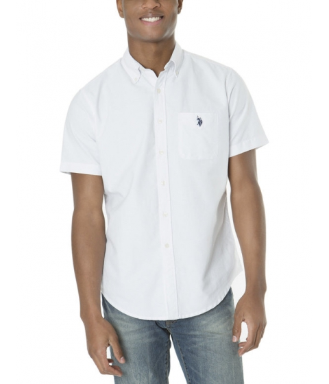 Imbracaminte Barbati US Polo Assn SHORT SLEEVE SOLID OXFORD Optic White