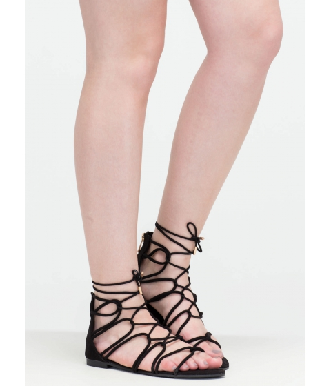Incaltaminte Femei CheapChic Get Looped In Strappy Lace-up Sandals Black
