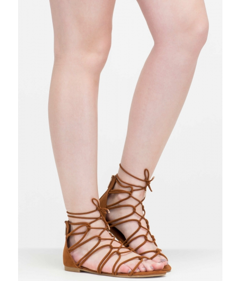 Incaltaminte Femei CheapChic Get Looped In Strappy Lace-up Sandals Chestnut