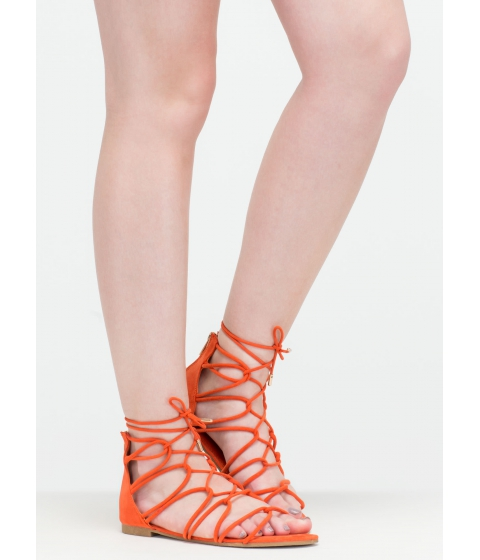 Incaltaminte Femei CheapChic Get Looped In Strappy Lace-up Sandals Orange