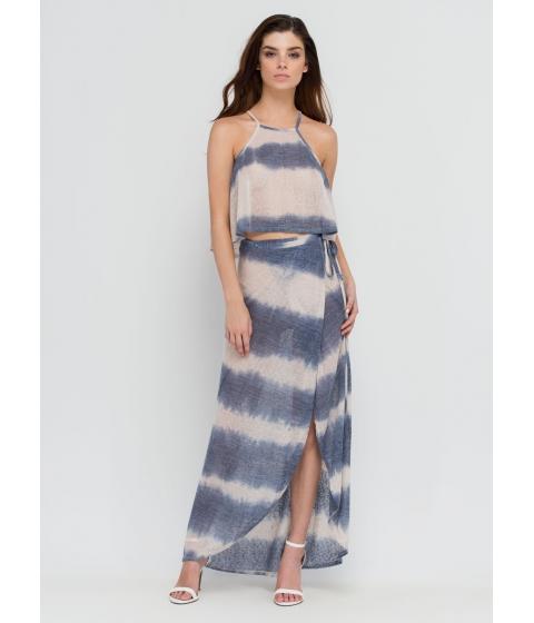 Imbracaminte Femei CheapChic Comes In Waves Tie-dye Wrap Skirt Blue