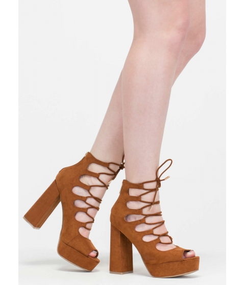 Incaltaminte Femei CheapChic She's Got Sole Chunky Lace-up Heels Chestnut