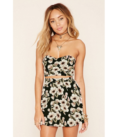 Imbracaminte Femei Forever21 Floral Print Tube Top Blackpeach