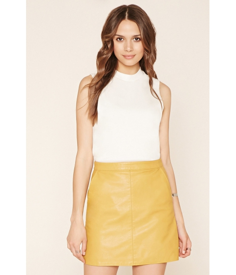 Imbracaminte Femei Forever21 Contemporary Faux Leather Skirt Mustard