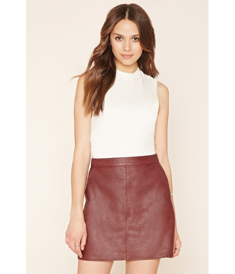 Imbracaminte Femei Forever21 Contemporary Faux Leather Skirt Burgundy