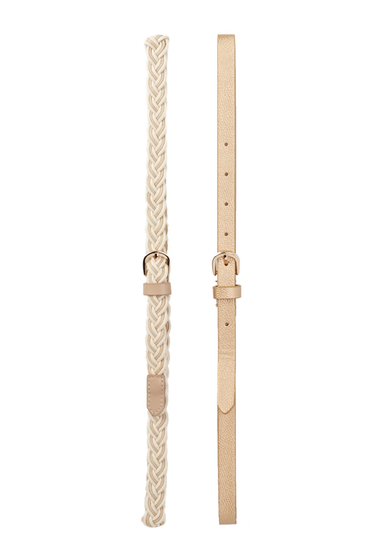 Accesorii Femei Steve Madden Assorted Braided Metallic Belt - Set of 2 BONE-GOLD