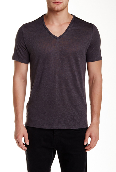 Imbracaminte Barbati The Kooples Genuine Leather Trim V-Neck Linen Tee ANTHRACITE BLEND