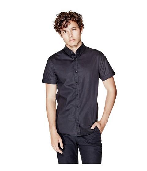 Imbracaminte Barbati GUESS Jaxson Short-Sleeve Shirt jet black