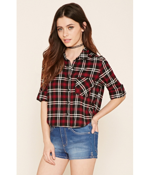 Imbracaminte Femei Forever21 Plaid Flannel Shirt Blackwine