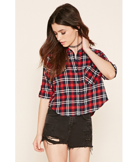 Imbracaminte Femei Forever21 Plaid Flannel Shirt Navyred
