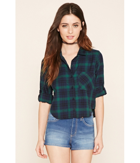 Imbracaminte Femei Forever21 Plaid Flannel Shirt Navygreen