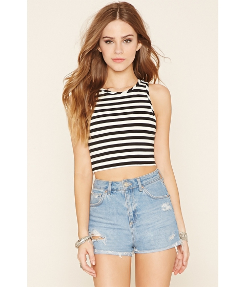 Imbracaminte Femei Forever21 Striped Crop Top Blackcream