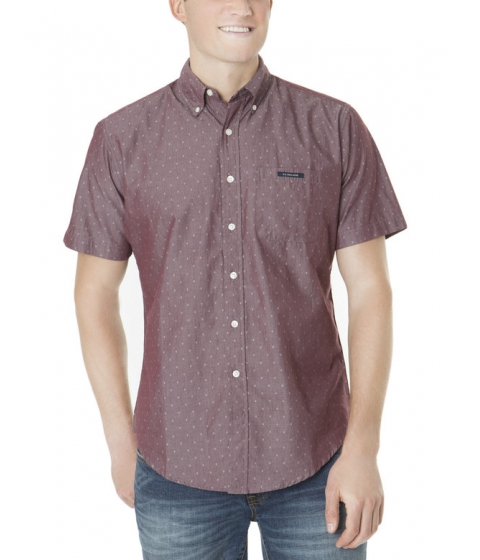 Imbracaminte Barbati US Polo Assn SHORT SLEEVE DIAMOND DOBBY SHIRT EAST BURGUNDY