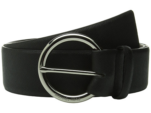 Accesorii Femei Michael Kors 50mm Contour Saffiano Belt on MK Logo Ring Buckle Black