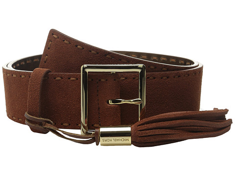 Accesorii Femei MICHAEL Michael Kors 44mm Suedge Belt with Pick Stitch and Fringe Tassel on Centerbar Buckle Tan