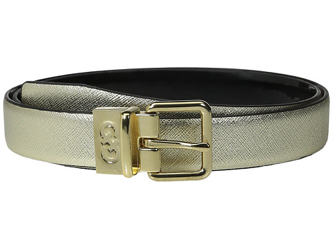 Accesorii Femei Cole Haan 25mm Saffiano to Patent Feather Edge Reversible Belt Gold Saffiano